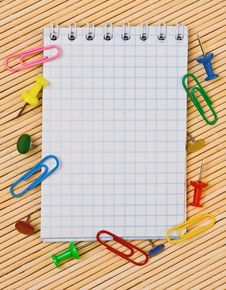 Free Notebook, Paper Clips, Hairpins Stock Photos - 19572813