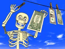 Money Laundering - Cartoon Of Skeleton With Dollar Royalty Free Stock Images