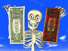 Free Money Laundering - Cartoon Of Skeleton With Dollar Stock Photography - 19573442