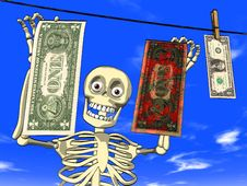 Free Money Laundering - Cartoon Of Skeleton With Dollar Stock Photo - 19573460