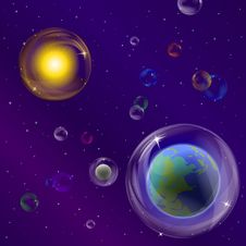 Free Planets And Sun In Bubbles Royalty Free Stock Photos - 19574848