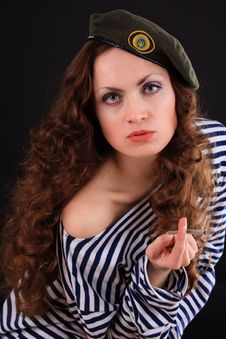Free Girl In A Military Beret Stock Photography - 19575282