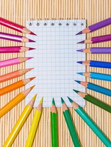 Free Notebook And Color Pencils Royalty Free Stock Photography - 19575687