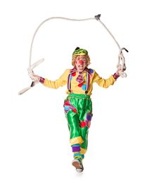 Free Clown Jumps On A Skipping Rope Royalty Free Stock Photography - 19576007