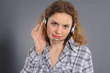 Free Female Customer Service Representative In Headse Stock Photography - 19576162