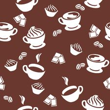 Free Seamless Pattern With Cups Of Coffee Royalty Free Stock Photos - 19576708