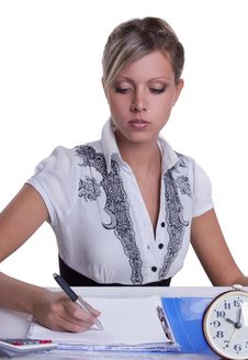 Free Businesswoman Sitting With Documents And Fills Stock Images - 19577194