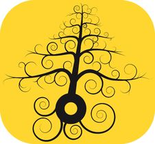 Free Black Spiral Tree With Root Royalty Free Stock Image - 19577706