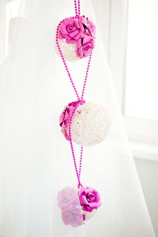 Free Bridal Decorations Of Spheres With Pink Flowers Stock Photo - 19578260