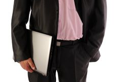 Free Businessman Holding Laptop- Front View Stock Photo - 19578610