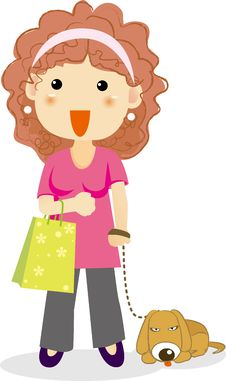 Free Woman Shopping With A Dog Royalty Free Stock Photography - 19581177