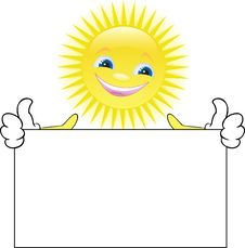 Sun With A Placard Royalty Free Stock Photography