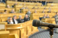 Free Microphone At Conference Hall. Stock Images - 19585404