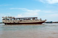 Floating Hotel Restaurant On A River Stock Photo