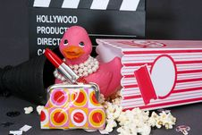 Free Duck Ready For Movies Royalty Free Stock Photos - 19587668