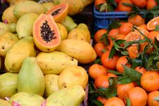 Papaya Fruit And Mandarin Oranges Stock Photo