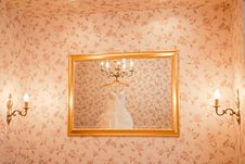 Free Wedding Dress In The Mirror Royalty Free Stock Photo - 19588045