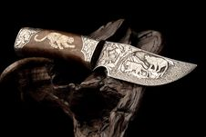 Free Ornamental Hunting Knife. Stock Images - 19588794