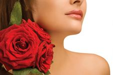 Free Female Shoulder And Roses Royalty Free Stock Photos - 19588808
