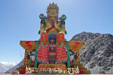 Free Buddhist Statue Against Himalayas Stock Image - 19588951