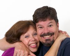Free Man And Wife Enthusiastically Hugging Each Other Royalty Free Stock Images - 19589059