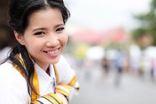The Woman Smile In Congratulations Day . Royalty Free Stock Images