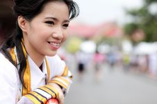 The Woman Smile In Congratulations Day . Stock Images