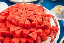 Free Red Watermelon On Dish Stock Photo - 19589970