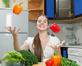 Free Young Beautiful Caucasian Woman In The Kitchen Royalty Free Stock Image - 19594316