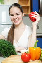 Free Young Beautiful Caucasian Woman In The Kitchen Royalty Free Stock Images - 19594319
