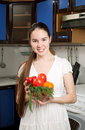 Free Young Beautiful Caucasian Woman In The Kitchen Royalty Free Stock Photos - 19594398
