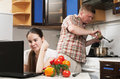 Free Young Beautiful Caucasian Woman In The Kitchen Stock Images - 19594444