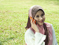Free Pretty Muslim Girl With A Phone Stock Photo - 19596560