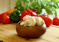 Free Fresh Mushrooms In Wooden Bowl Stock Images - 19597784