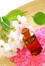 Free Bottle Of Essential Oil,  Bath Salt And Flower Stock Image - 19599301