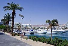 Sunny Day On Promenade Of Eilat City, Israel Stock Photo