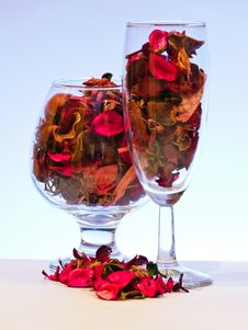 Free Glass With Dried Leaves Royalty Free Stock Photography - 19591977
