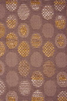 Brown Textile Material Yellow And Brown Cirlces Stock Photos
