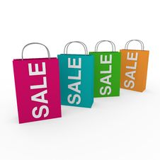 3d Sale Bags Colorful Royalty Free Stock Photo