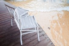 Free Chairs And Sea Wave Royalty Free Stock Images - 19592929