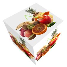 Photo Cube With Mixed Fruit And Glass Of Orange Royalty Free Stock Photo