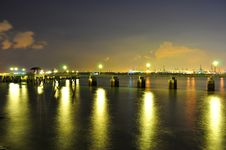 Long Labrador Park Jetty On Dusk Royalty Free Stock Photography