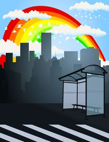 Free Rainbow Over A City2 Stock Photography - 19593642