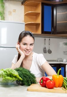 Free Young Beautiful Caucasian Woman In The Kitchen Stock Images - 19594274