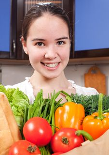 Free Young Beautiful Caucasian Woman In The Kitchen Stock Photography - 19594282