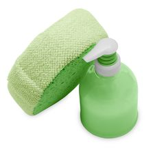 Plastic Bottle With Green Liquid Soap