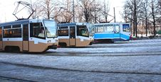 Free Three Trams Royalty Free Stock Photo - 19595765