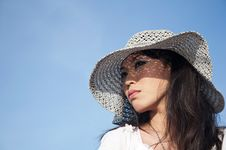 Young Beautiful Woman Wearing A Hat Stock Photography
