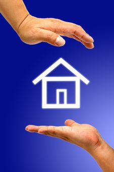 Hand And Icon House Stock Images