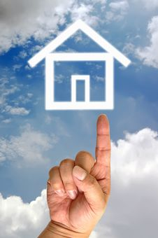 Free Hand And Icon House Stock Photography - 19596812
